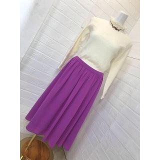 ノーブル(Noble)のNOBLE 鮮やかな紫色 オールシーズン使えるシフォン生地スカート サイズ38 (ロングスカート)