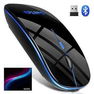 【Bluetooth5.0 七色ライト付き】 ワイヤレスマウス