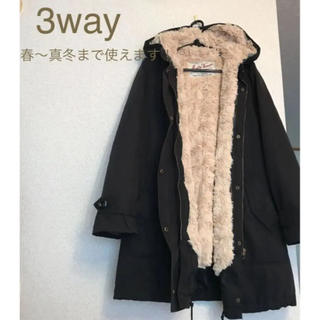ミスティウーマン(mysty woman)の3way インナージャンバー 薄手コート ボアコートとしてブラック×ベージュ(モッズコート)
