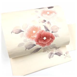 上質 正絹 日本刺繍 華模様 名古屋帯 素材など 中古品