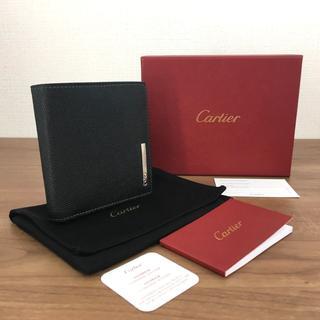 カルティエ(Cartier)の極美品 カルティエ 二つ折り財布 ブラック レザー メンズ 58(折り財布)