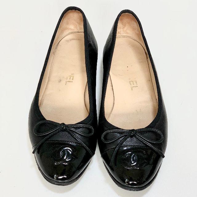 CHANEL(シャネル)の1858 シャネル ココマーク フラットシューズ 黒 レディースの靴/シューズ(バレエシューズ)の商品写真