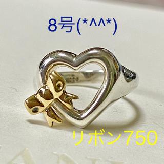 ティファニー(Tiffany & Co.)のティファニーハートリボンコンビリング 8号 美品です(*^^*)(リング(指輪))