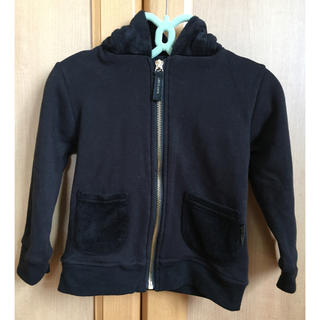 エイチアンドエム(H&M)の♡美品♡ 猫みみフード ジッパーパーカー ブラック 95(ジャケット/上着)