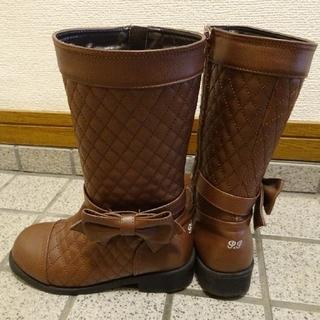 ポンポネット(pom ponette)のpom ponette 茶色ロングブーツ ヴィレッジヴァンガード優待券(+500(ブーツ)