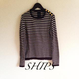 シップス(SHIPS)のシップス 肩ボタンボーダーニット(ニット/セーター)
