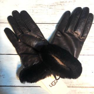 UGG - UGG アグ 正規品羊革 レザーグローブ 手袋 本革 ブラック防寒 ブランド新品