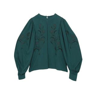 Ameri VINTAGE - LADY EMBROIDERY PUFF BLOUSE/green/Ameri