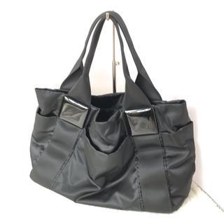 パピヨネ(PAPILLONNER)のパピヨネ スクエア 樹脂パーツ トートバッグ ハンドバッグ 黒  中(トートバッグ)