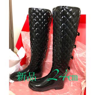 ハンター(HUNTER)のHUNTER ロングレインブーツ 24cm  キルト柄でオシャレ♫(レインブーツ/長靴)