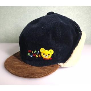mikihouse - ミキハウス プッチー コーデュロイ ボア付き ベビー帽子 48㎝