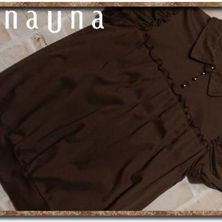 スーナウーナ(SunaUna)のスーナウーナ 襟付きカットソー 茶(カットソー(半袖/袖なし))