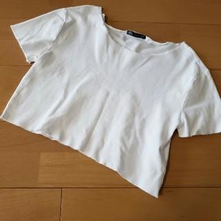 ZARA - ザラ ショート丈切りっぱなしTシャツ