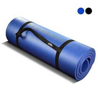 ブルーヨガマット15mm 極厚 トレーニングマット (ニトリルゴム) ストラップ(ヨガ)