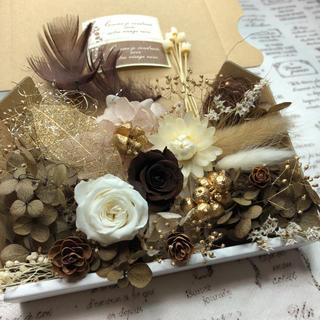 ビターショコラ&ホワイトローズ*花材詰め合わせ(プリザーブドフラワー)