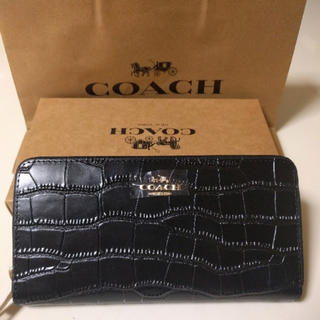 COACH - coach長財布 クロコ押し型ブラックラウンドファスナー