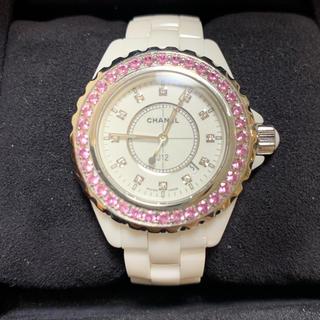 CHANEL - シャネルJ12 ピンクサファイア入りベゼル 腕時計