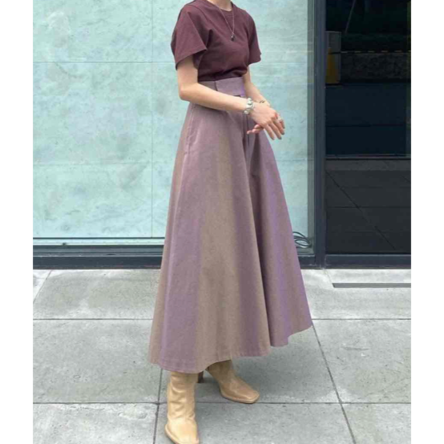 STUDIOUS(ステュディオス)のCLANE CHAMBRAY CIRCULAR SKIRT クラネ パープル レディースのスカート(ロングスカート)の商品写真