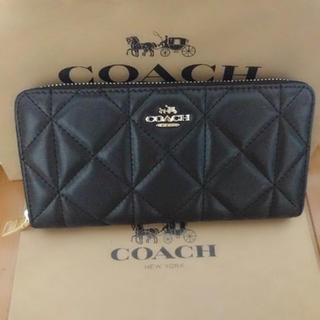 COACH - coach長財布 キルディングブラックラウンドファスナー