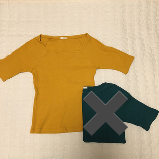 GU - GU/カラーTシャツ/リブ/ワッフル