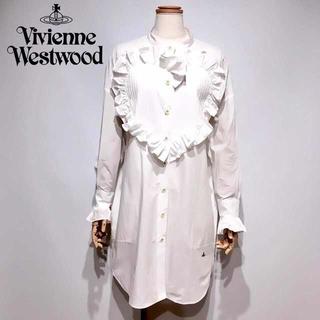ヴィヴィアンウエストウッド(Vivienne Westwood)の新品タグ付き ヴィヴィアンウエストウッド ハート フリル シャツ ワンピース(ひざ丈ワンピース)