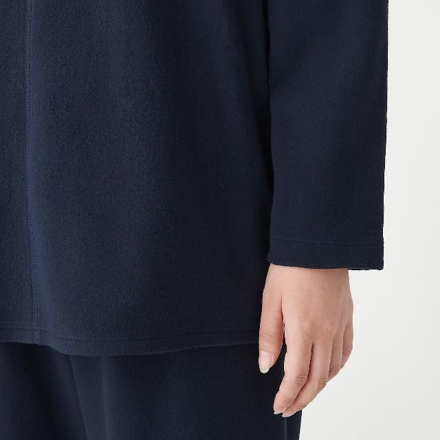 MUJI (無印良品)(ムジルシリョウヒン)の脇に縫い目のない フリースルームウェアセット ネイビーMサイズ レディースのルームウェア/パジャマ(パジャマ)の商品写真