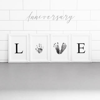 LOVE♡ ベビー手形足形アート 簡単台紙セット 特厚紙シンプル モノトーン