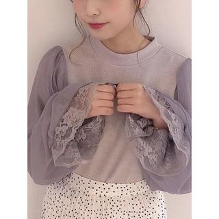 one after another NICE CLAUP - NICE CLAUP♡袖コンシャスTOPS♡グレー