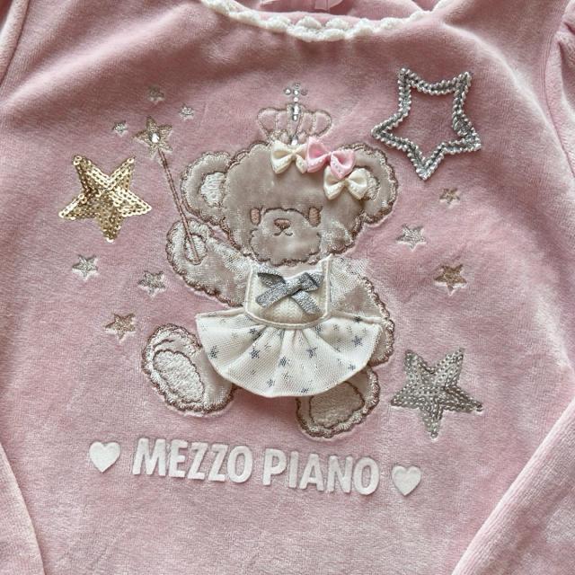 mezzo piano(メゾピアノ)の120 くまちゃんベロアワンピース メゾピアノmezzo piano キッズ/ベビー/マタニティのキッズ服女の子用(90cm~)(ワンピース)の商品写真