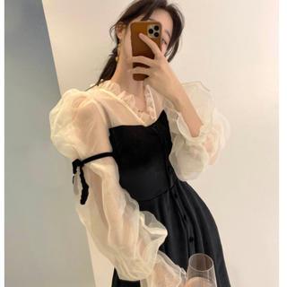STYLENANDA - 【予約商品】ベルベット サテン シースルー ドレス 韓国ファッション 秋服 冬