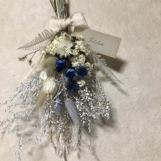 ♡キルア様専用No.142 white*blue ドライフラワースワッグ♡(ドライフラワー)