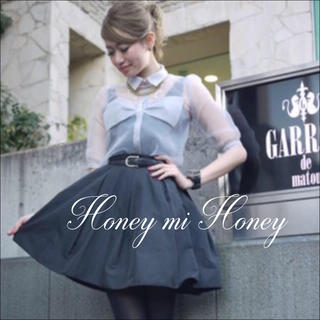 ハニーミーハニー(Honey mi Honey)のHONEY MI HONEY リボン オーガンジー ブラウス♡ミークチュール(シャツ/ブラウス(半袖/袖なし))
