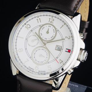 トミーヒルフィガー(TOMMY HILFIGER)の◆大感謝セール◆ トミーヒルフィガー 新品 メンズ 腕時計 クロノグラフ 防水(レザーベルト)