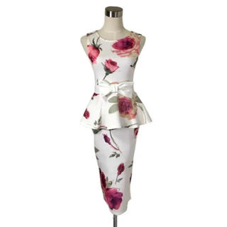 イギリス製 大輪の薔薇が咲くペプラムフリル美形ワンピース ウエストおりぼん