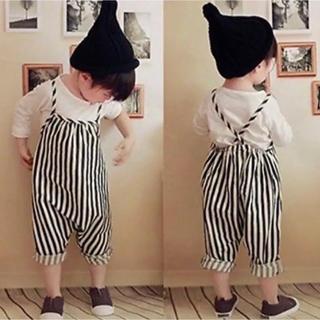コドモビームス(こども ビームス)の新品★韓国こども服ボーダーサロペットパンツ70(パンツ)