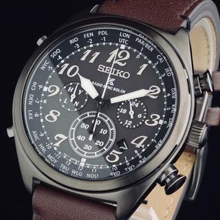セイコー(SEIKO)の◆大感謝セール◆ セイコー 新品 メンズ 腕時計 黒文字盤 ブラックレザー 即納(レザーベルト)