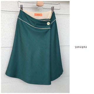 SunaUna - スーナウーナ ひざ丈 ラップ風 パイピング スカート 日本製 仕事 通勤 緑
