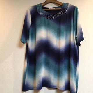 G promise カットソー 半袖 ブルー 大きいサイズ 婦人服 送料込