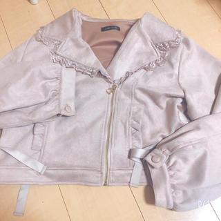 アンクルージュ(Ank Rouge)のピンク ジャケット 量産型 フリル リボン 編み上げ 最終お値下げです😊(ライダースジャケット)