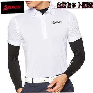 スリクソン(Srixon)のM 新品/デサント/スリクソン/ストレッチ長袖インナーシャツ付き/半袖ポロシャツ(ウエア)
