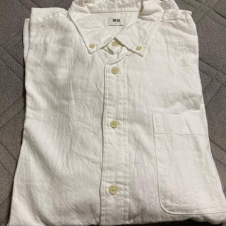 UNIQLO - ボタンダウンカラーフランネルシャツ(ホワイト)