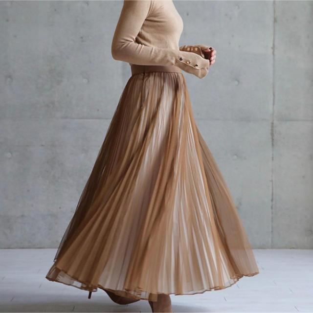 Drawer(ドゥロワー)のSHE tokyo シートーキョー♪シフォンプリーツスカート  36 レディースのスカート(ロングスカート)の商品写真