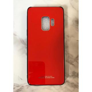 ギャラクシー(Galaxy)のシンプル&薄型耐衝撃背面9Hガラスケース GalaxyS9Plus レッド 赤(Androidケース)