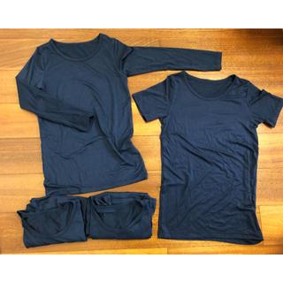 ユニクロ(UNIQLO)のユニクロ ヒートテック 紺色 140 長袖3枚 半袖1枚(下着)