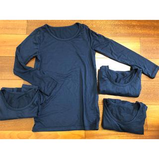 ユニクロ(UNIQLO)のユニクロ ヒートテック 紺色140 長袖4枚(下着)