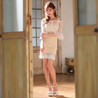 デイジーストア(dazzy store)の新品同様 明日香キララ着用 キャバドレス ミニドレス サイズL ベージュ(ナイトドレス)