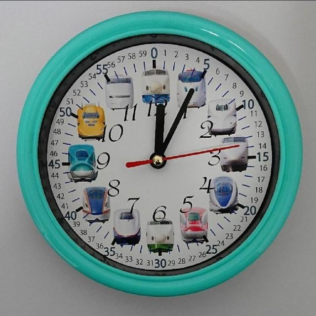 新幹線 分入り エメラルドグリーン枠 掛け時計 キッズ/ベビー/マタニティのおもちゃ(知育玩具)の商品写真