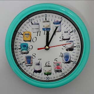 新幹線 分入り エメラルドグリーン枠 掛け時計(知育玩具)