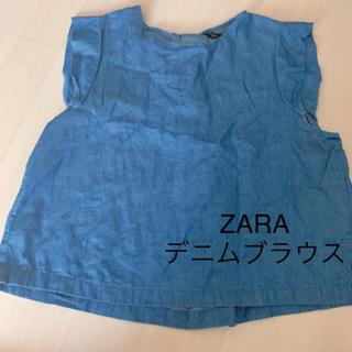 ザラ(ZARA)のZARAザラデニムブラウス 最終値下げ(シャツ/ブラウス(半袖/袖なし))