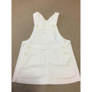 ムジルシリョウヒン(MUJI (無印良品))の白にジャンパースカート!80cm未使用(ワンピース)